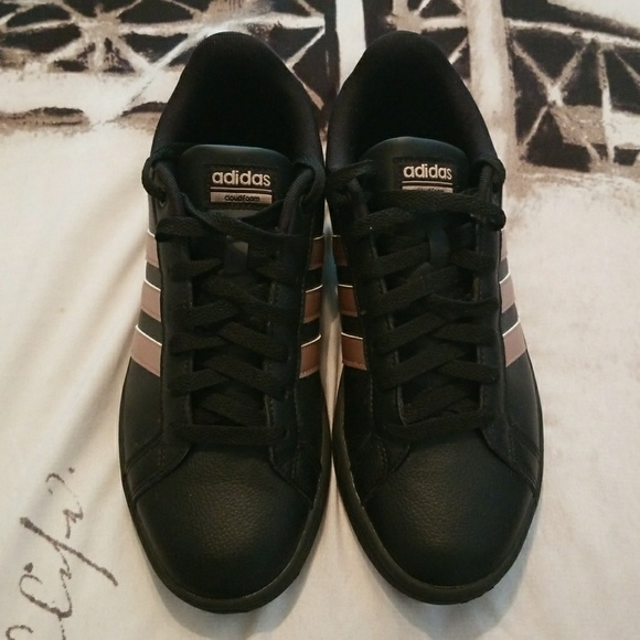 WOMEN ADIDAS BLACK WITH ROSE GOLD SNEAKERS
